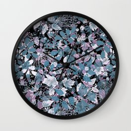 Openwork blue and purple leaves on a black background . Wall Clock