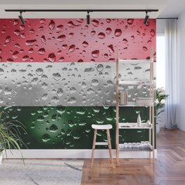 Flag of Hungary - Raindrops Wall Mural