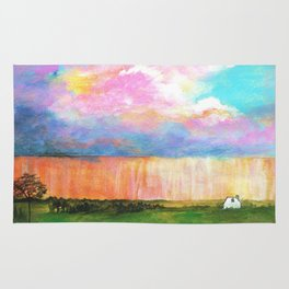 April Showers, Abstract Landscape Rug