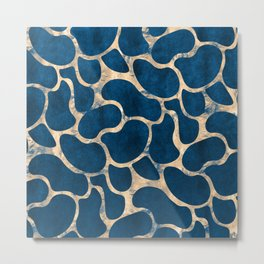Blue Suede with Rose Gold Beans Pattern Metal Print