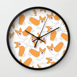 Fun Pembroke Welsh Corgi Pattern Wall Clock
