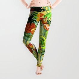 My tropical Summer Hibiscus and Fruits Garden- Jungle Pattern Leggings