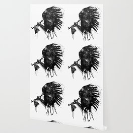Indian with Headdress Black and White Silhouette Wallpaper