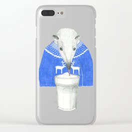 latte drinking anteater Clear iPhone Case