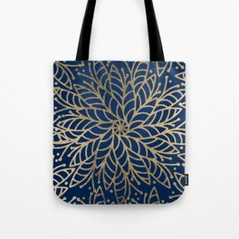 Modern chic navy blue faux gold floral mandala Tote Bag