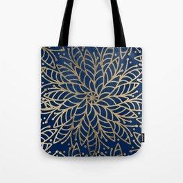 Modern chic navy blue faux gold floral mandala Tote Bag