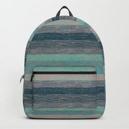 Tree bark wood striped grey turquoise . Backpack