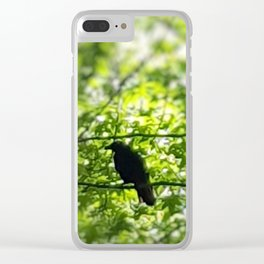 Black Bird Summer Green Tree Clear iPhone Case