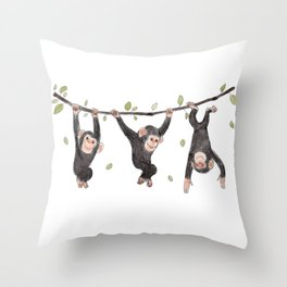 Baby Chimps at Play Throw Pillow