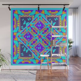 Western Style Purple Turquoise Butterflies Creamy Gold Patterns Wall Mural