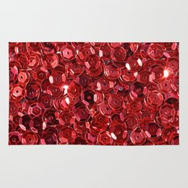 Shiny red sequins background Rug