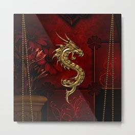 Wonderful golden chinese dragon Metal Print