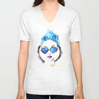 hearts V-neck T-shirts featuring Hearts by Mistake Ann