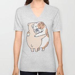 English Bulldog Hugs Unisex V-Neck