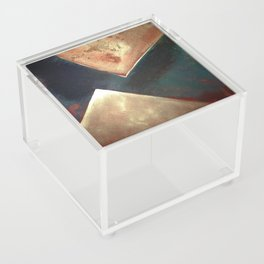 Golden Triangles Modern Abstract Art Painting Acrylic Box