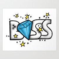 boss Art Prints featuring Boss by DeMoose_Art