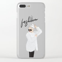 Girl in fluffy fur Clear iPhone Case