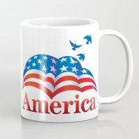 america Mugs featuring America by corsetti