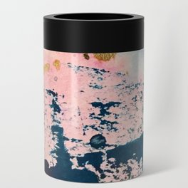 Candyland: a vibrant, colorful abstract piece in blue teal pink and gold by Alyssa Hamilton Art Can Cooler
