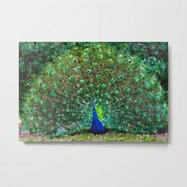 Peacock Low Poly Geometric Triangles Metal Print