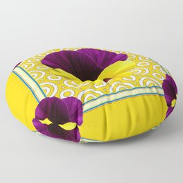 Golden Modern Art Deco Purple Pansy Pattern Art Floor Pillow