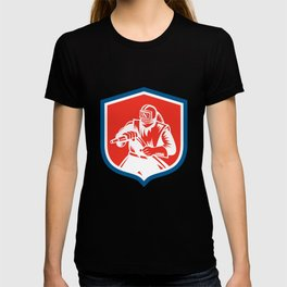 Sandblaster Sandblasting Hose Shield Woodcut T-shirt