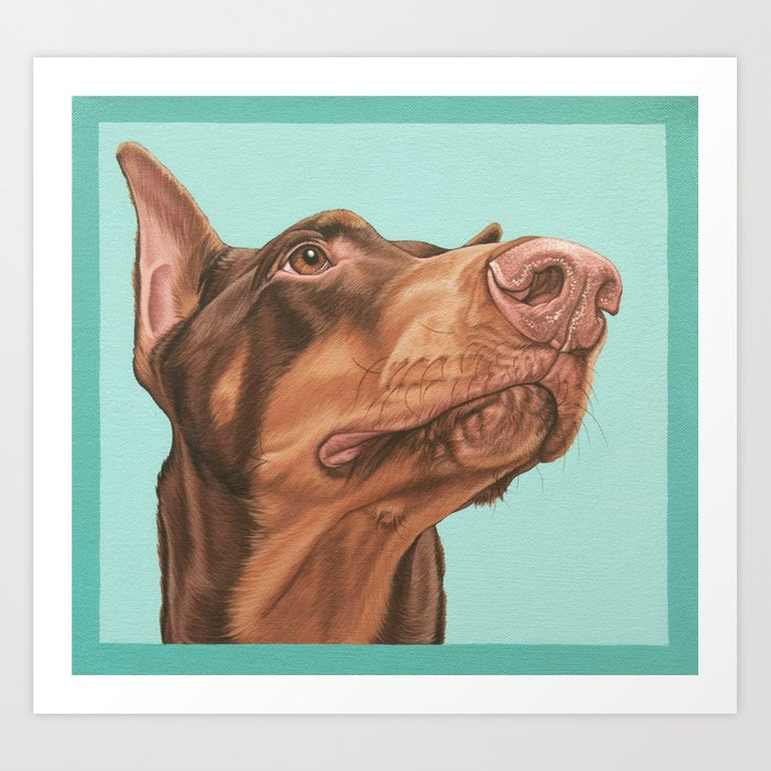 regal doberman portrait red dobie dog artwork doberman pinscher