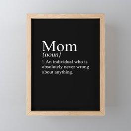 Mom Definition Mother's Day Mother Family Mom Gift Framed Mini Art Print