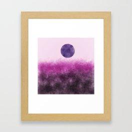 Pink landscape with purple moon Framed Art Print