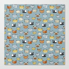 Cat Face Doodle Pattern Canvas Print