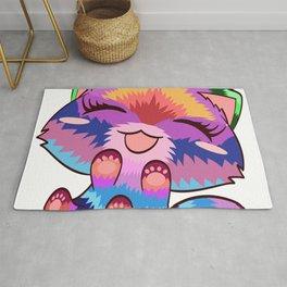 Rainbow Colorful  Cat Pet Animals Kitten Fountain Kittie Feline Claw Claws Meow T-shirt Design Rug
