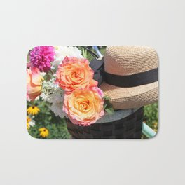 Roses, Straw Hat and Bicycle Bath Mat