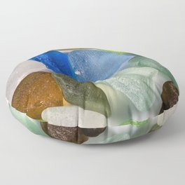 Colorful New England Beach Glass Floor Pillow
