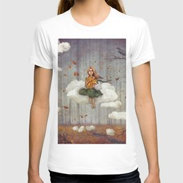 The little  girl sits on a cloud  in   autumn forest T-shirt