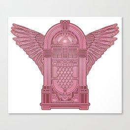 Vintage Flying Illuminati Jukebox Pink Canvas Print