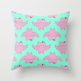 Pink Bat Throw Pillow