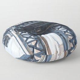 Manhattan Bridge Empire Blue Floor Pillow