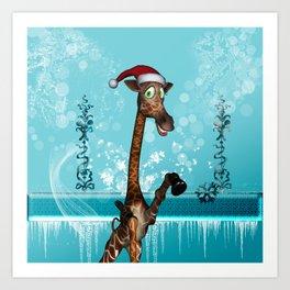 Funny, cute giraffe Art Print