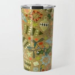 vintage christmas gold Travel Mug