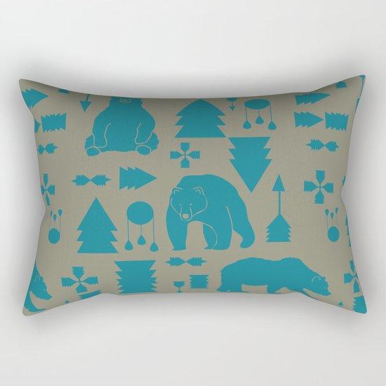 Tribal Bear Blue Rectangular Pillow