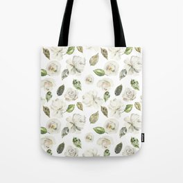 Scattered White and Cream Roses with Gentle Green Foliage  Tote Bag