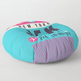 Baggage Tag A - JFK New York John F. Kennedy USA Floor Pillow