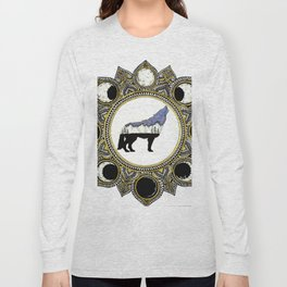 Double Exposure Wolf Howling at the Moon Mandala Long Sleeve T-shirt