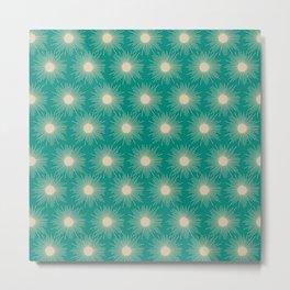 Sunbursts Mid-Century Modern Sun Pattern in Mid Mod Beige and Turquoise Teal Metal Print