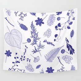 Blue Botanicals Wall Tapestry