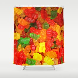 red orange yellow colorful gummy bear Shower Curtain