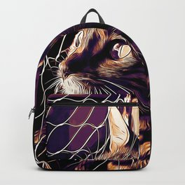 bengal cat yearns for freedom vector art late sunset Backpack