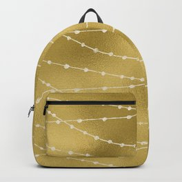 Merry christmas- white winter lights on gold pattern Backpack