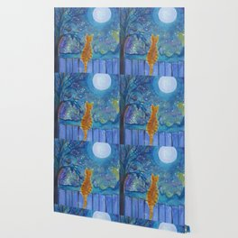 Cat on a fence in the moonlight Wallpaper