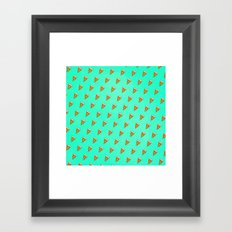 Cool and Trendy Pizza Pattern in Super Acid green / turquoise / blue Framed Art Print